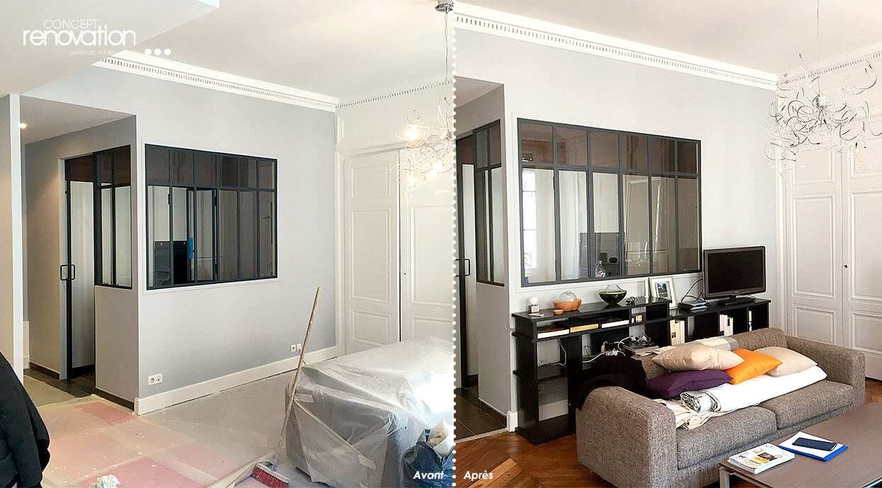 renovation interieur maison avant apres. Black Bedroom Furniture Sets. Home Design Ideas